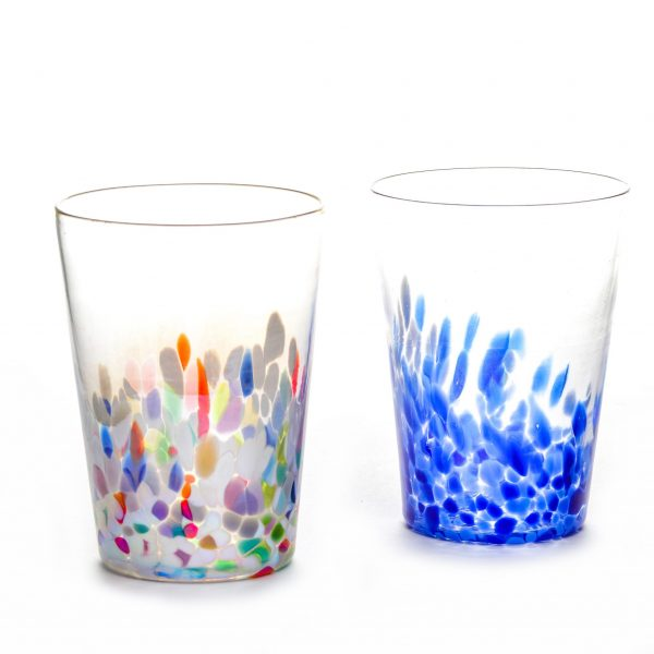 lightweight glass tumblers with color dots on the bottom, asheville glass blowing, asheville glass center, 2nd generation glass blower