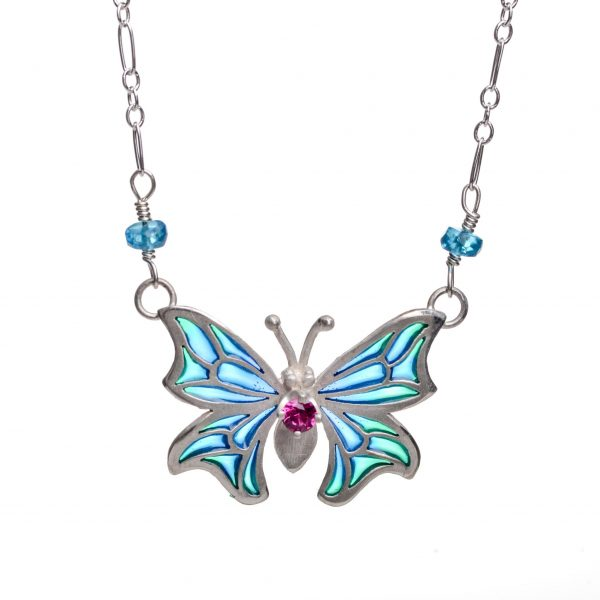 handmade stained glass butterfly necklace with colorful wings, sterling silver and enamel transparent wings with accent gemstone