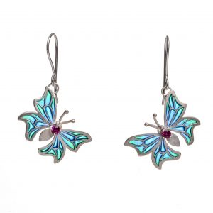 handmade stained glass enamel earrings with butterfly colorful wings with accent gems on body, colorful butterfly earrings