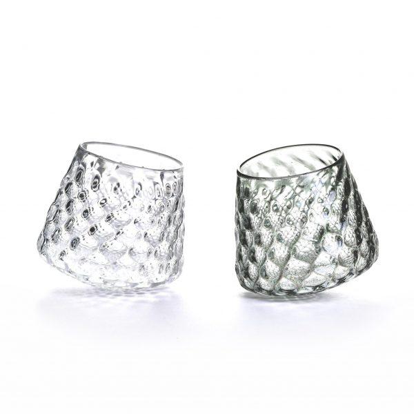 crystal and smoky gray tipsy wine glasses, asheville glass center, asheville nc glassblower, nc glass, handmade gift for her