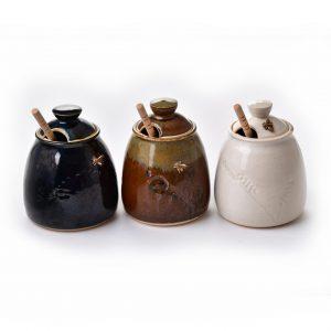 wheel thrown handmade honey pot with lid, copper cast bee ad lid