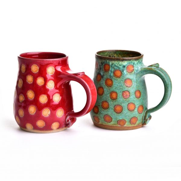 dots mug, handmade clay mugs with dots or stripes, green and red one-of-a-kind mugs, weaverville pottery