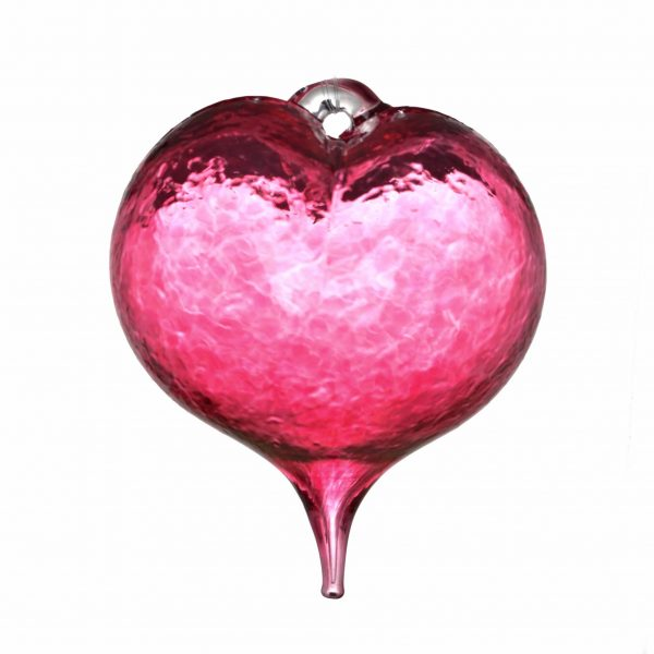 asheville glass blowing, glass blowing ornament, heart ornament, love gift, valentines