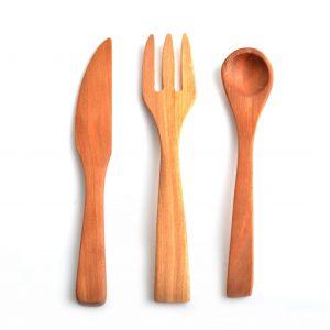 handmade children's utensils, wooden fork, wooden knife, wooden kid spoon, handmade gifts for kids,