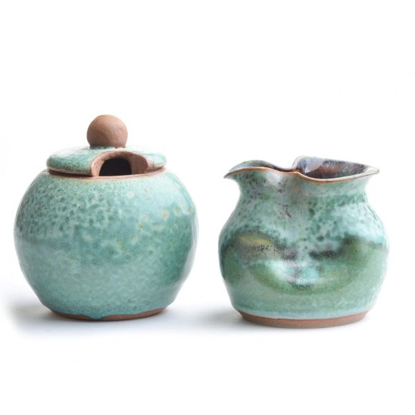 green cream and sugar, wedding gift, affordable handmade, weaverville potter, nc clay, rob and beth, folk art center