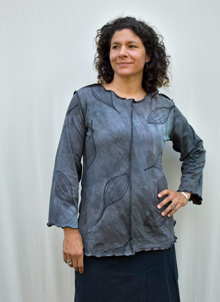 handprinted organic cotton aline gray shirt top with pod printed pattern, biltmore village craft, asheville nc
