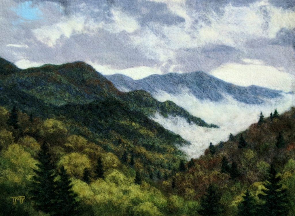 felted landscape with clouds and mountains, nc craft, handmade hand felted framed picture