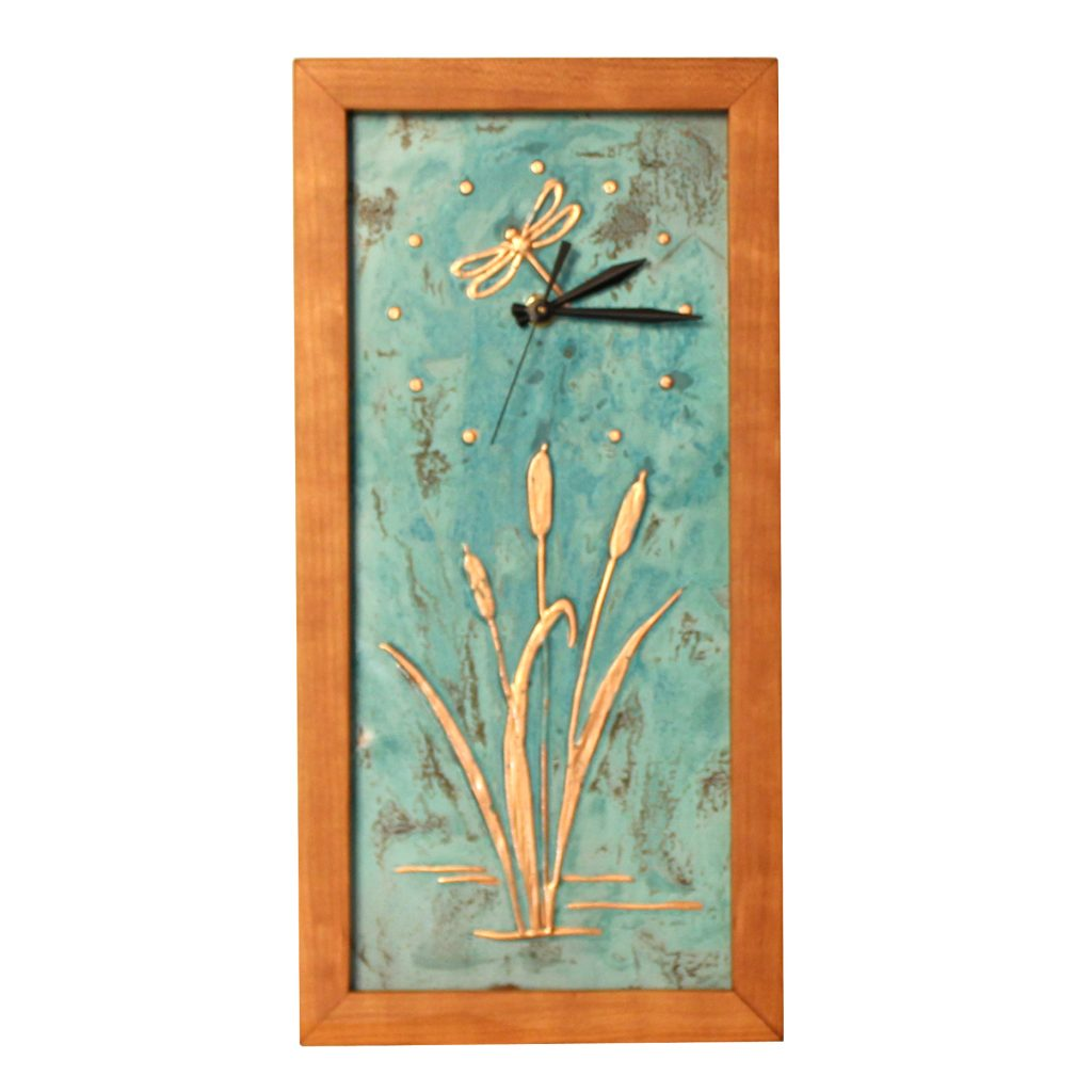 tall rectangle clock with copper inset with cattails and dragonfly with wooden frame, biltmore craft gallery, new morning gallery, southern highland craft guild, sabbath day woods