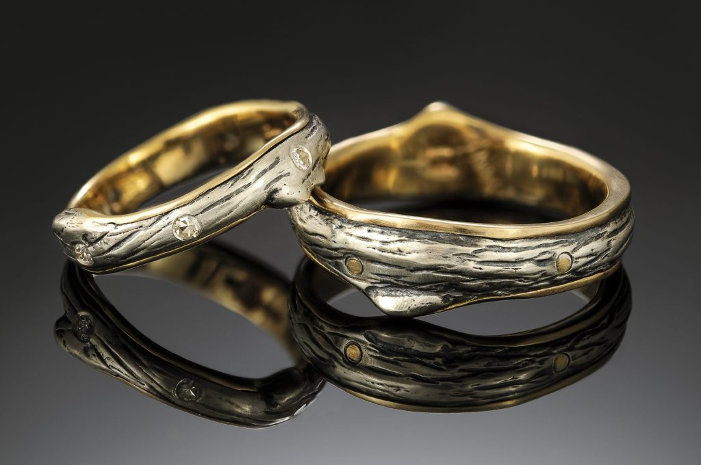 handmade cast silver and gold twig rings for men and women with diamonds, weaverville nc artist jeweler