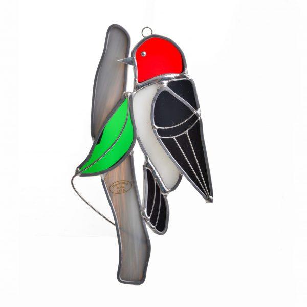 woodpecker glass art, bird watching, cheap gift for bird watcher, folk art center, biltmore