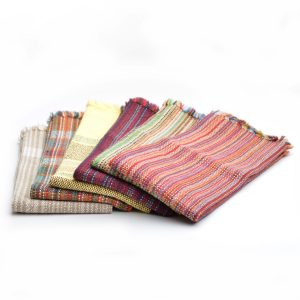 handwoven dish towels in so many colors, stripes, plaid, yellow, red,