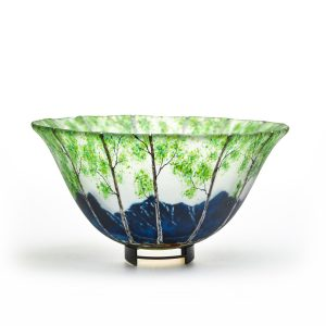 large fused glass bowl with mountain scene in summer, glass center pieces, fused glass teacher,glass summer tree landscape bowl