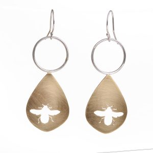 save the bees, bee earrings, handcut bronze earrings