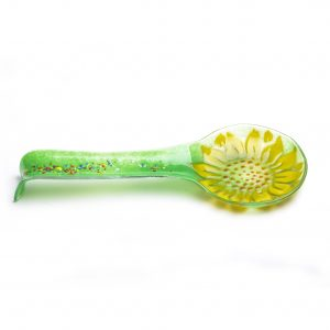 garden gifts, colorful glass flower spoon rest
