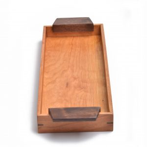 small wooden tray with handles, long narrow handmade wooden tray