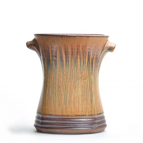 large vase, brown kitchen decor, large utensil holder, handmade kitchen, nc potter, village potters
