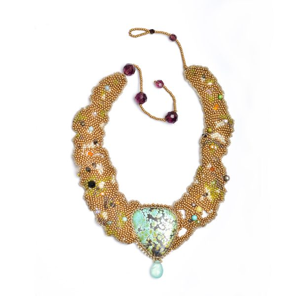 large expensive woven beaded necklace, gold and turquoise necklace, statement necklace