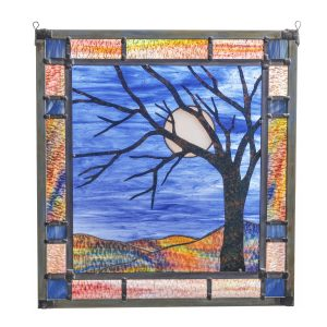 full moon stained glass, tree with moon large stained glass panel, nc stained glass artist, folk art center,