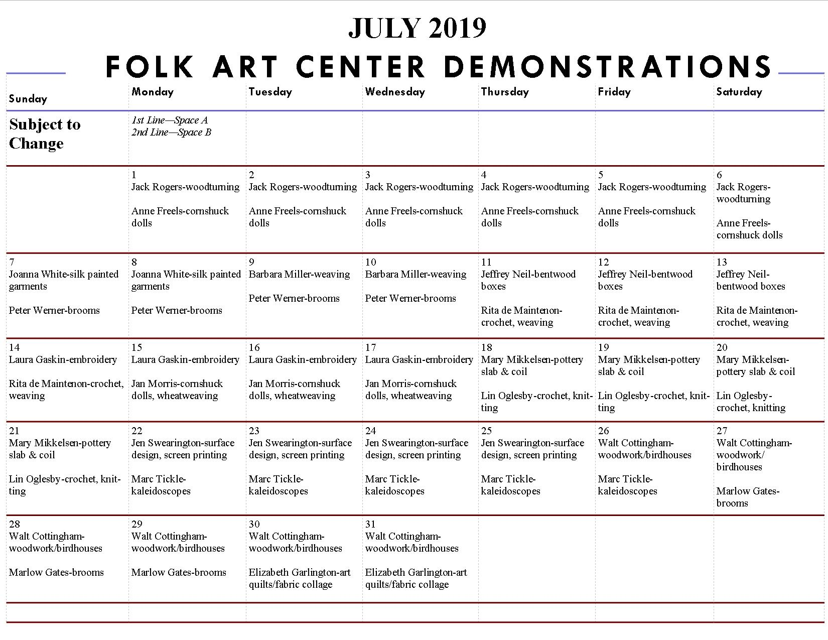 daily craft demonstrations at the folk art center in asheville north carolina