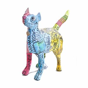 handmade cat lamp, cat decor, cat paper mache lamp, crazy outsider art, nc crafts,