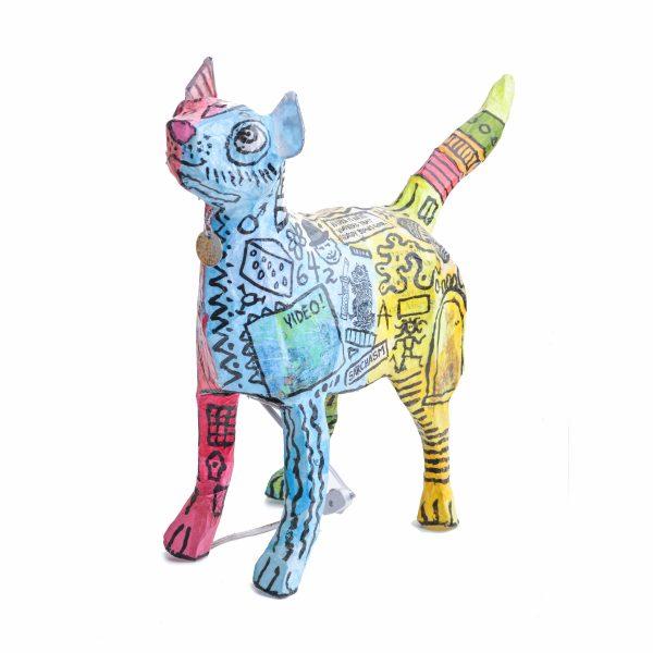 handmade cat lamp, cat decor, cat paper mache lamp, crazy outsider art, nc crafts,