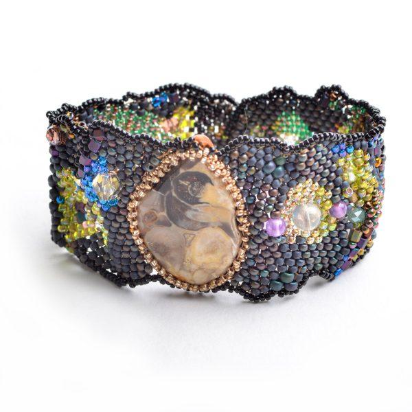 Dark gray woven beaded bracelet with large jasper stone