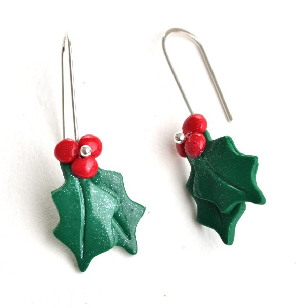 red and green holly christmas holiday earrings