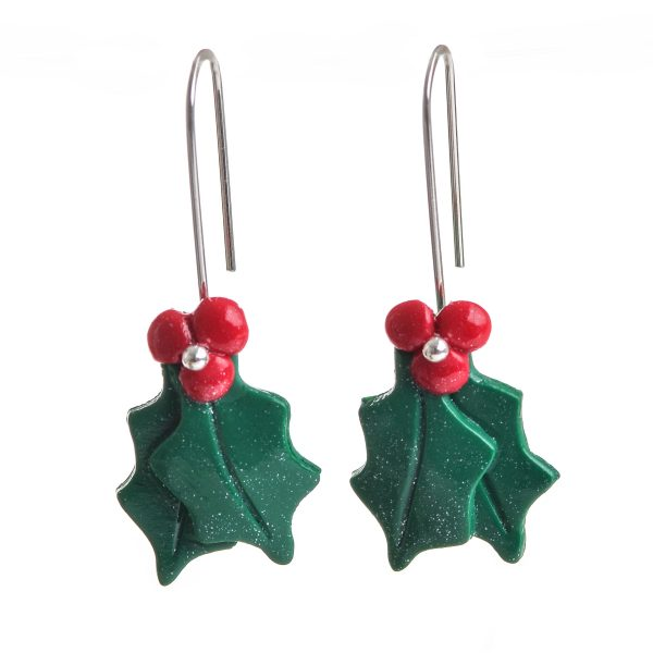 christmas earrings made of polymer holly leaves and berries with silver ear wires, holiday earrings