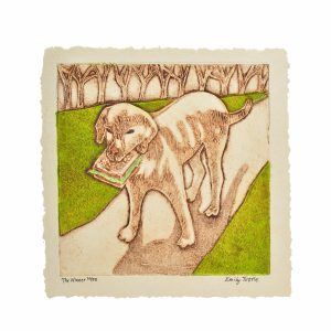 Handmade print of a dog holding a sandwich on a sidewalk in front of a row of trees