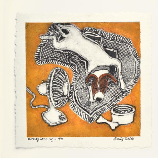 Handmade print of a dog sleeping on a blanket with a fan blowing and a dog bowl
