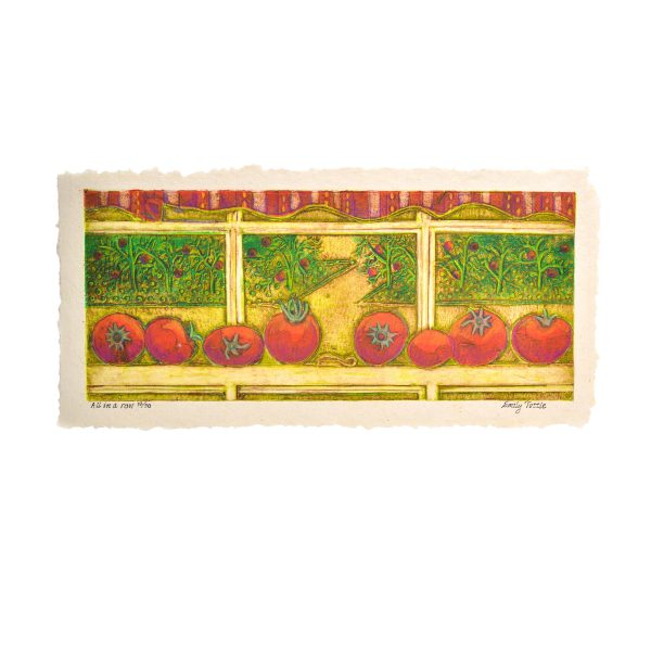 handmade print of tomatoes on a window sil with garden in the background