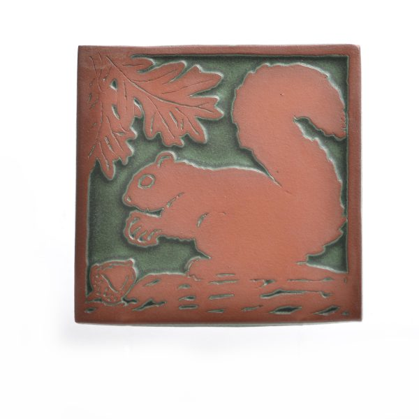 Green and red square ceramic squirrel tile trivet, mountain home kitchen accessories, squirrel art, mountain home decor