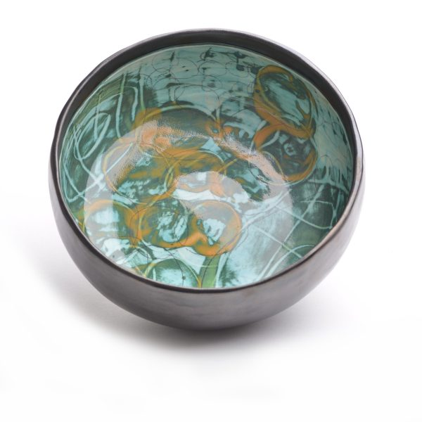 black and green wheel thrown bowl with hand painted decoration, nc clay artist, funky pots