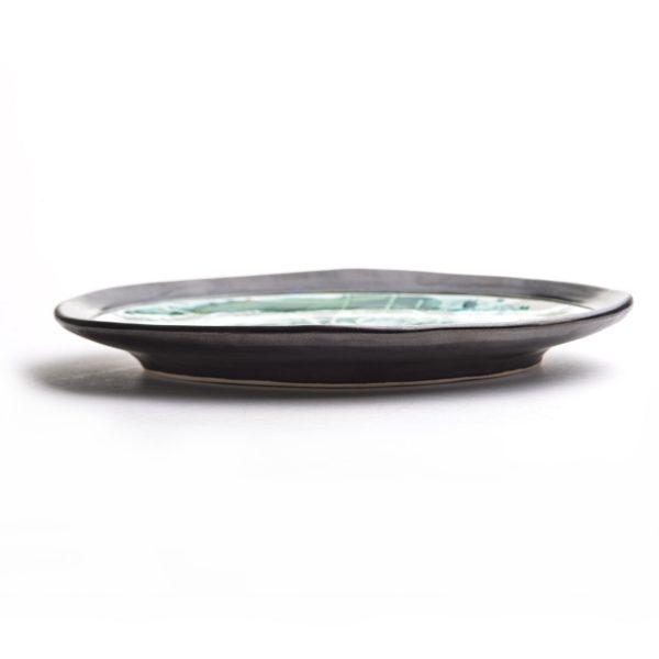 side view of handmade oval plate, handmade pottery, nc clay artist