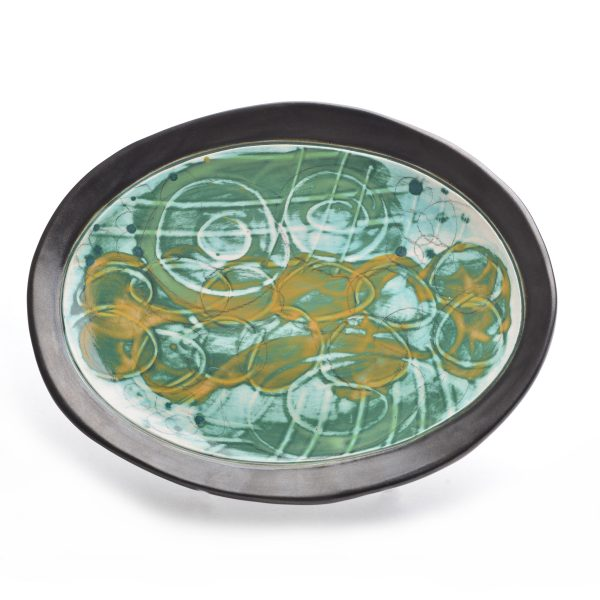 small oval plate, handpainted pottery, nc potter, nc craft gallery