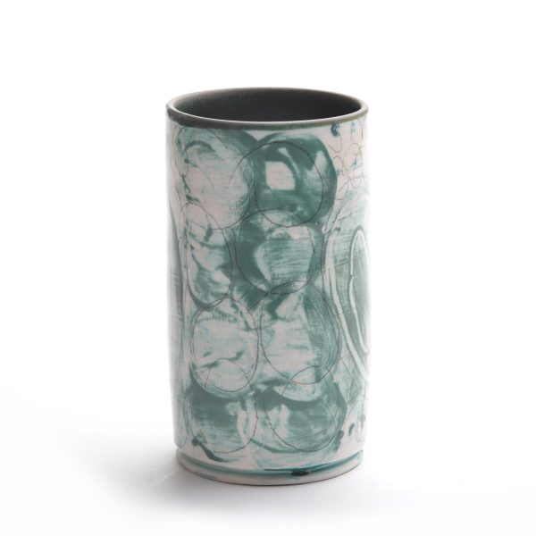 handmade pottery tumbler cup, green and gray clay cup with glazed interior
