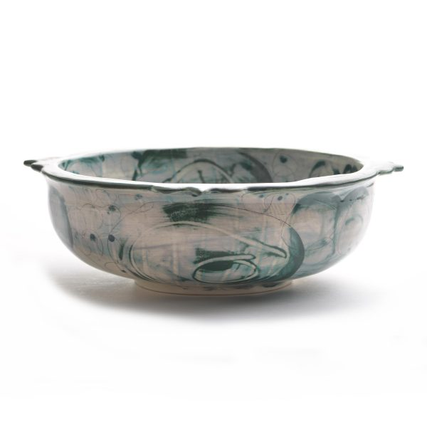 gray and green wheel thrown handmade bowl with green rim, nc pottery,