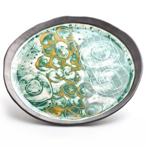 large pottery platter, handmade clay platter, green and yellow circle decoration with black rim, asheville clay, nc crafts