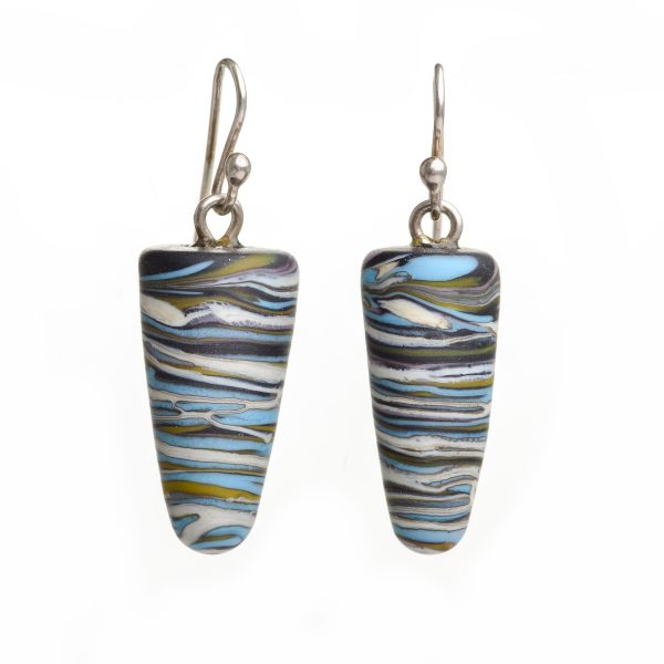 handmade lampworked long earrings with blue white and black glass and silver earwires