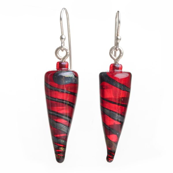 Long pointy handmade lampworked red and black glass beads with silver earwires