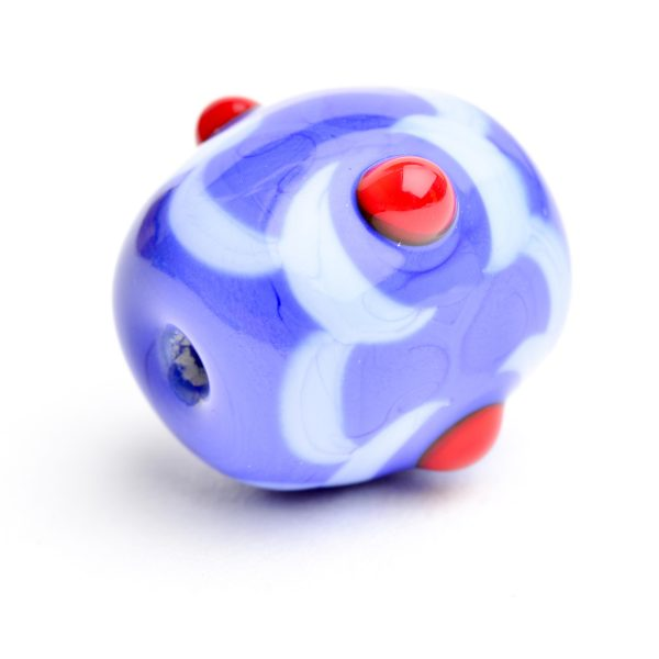 blue and red handmade glass bead