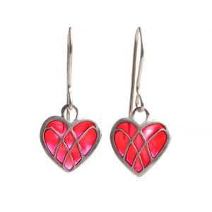 transparent handmade small red heart earrings, sterling silver plique a jour red heart earrings, valentines day jewelry, love necklace