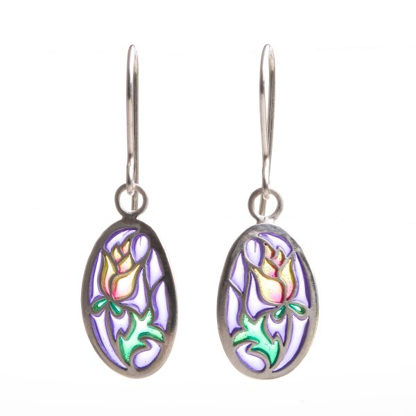 handmade stained glass rose earrings, sterling silver and pique a jour purple green and red earrings,
