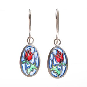 handmade stained glass rose earrings, sterling silver and pique a jour blue green and red earrings,