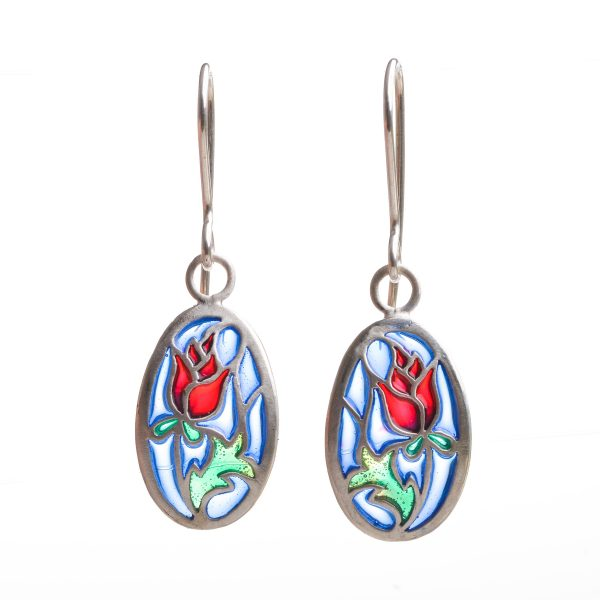handmade stained glass rose earrings, sterling silver and pique a jour blue green and red earrings,red rose jewelry, valentines jewelry
