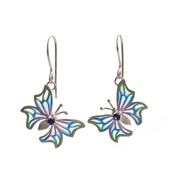 handmade butterfly stained glass earrings, colorful plique a jour earrings