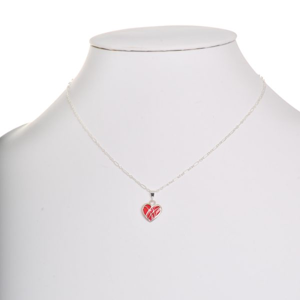 handmade small red heart necklace pendant, sterling silver plique a jour red heart necklace, valentines day jewelry, love necklace