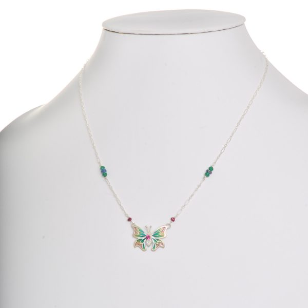 handmade stained glass enamel necklace with butterfly colorful wings with accent gems on silver chain, pink yellow and green butterfly necklace
