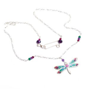 handmade sterling silver and enamel dragonfly necklace with gemstone accent, green yellow pink and purple wings on silver chain with small gemstone accents on chain