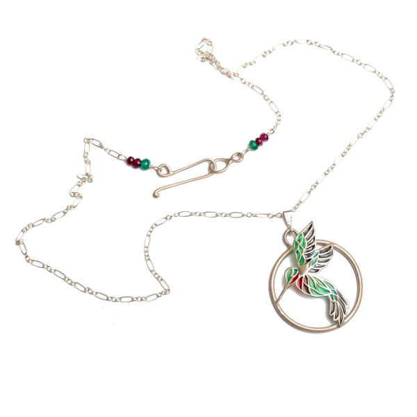 handmade 3-d hummingbird stained glass necklace, sterling silver and plique a jour green and red round pendant, hummingbird in flight